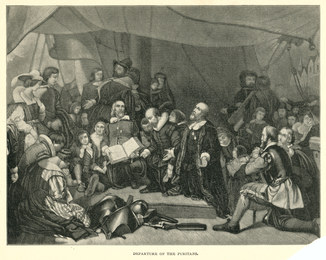 Departure of the Puritans 19th century engraving
