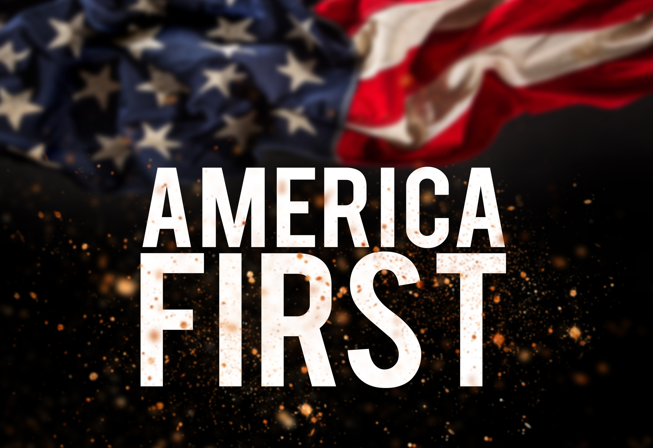 America first catcheword with american flag