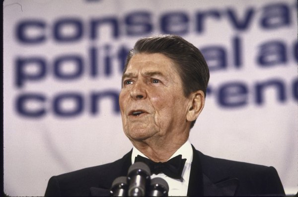 Pres Ronald Reagan speaking at CPAC conference