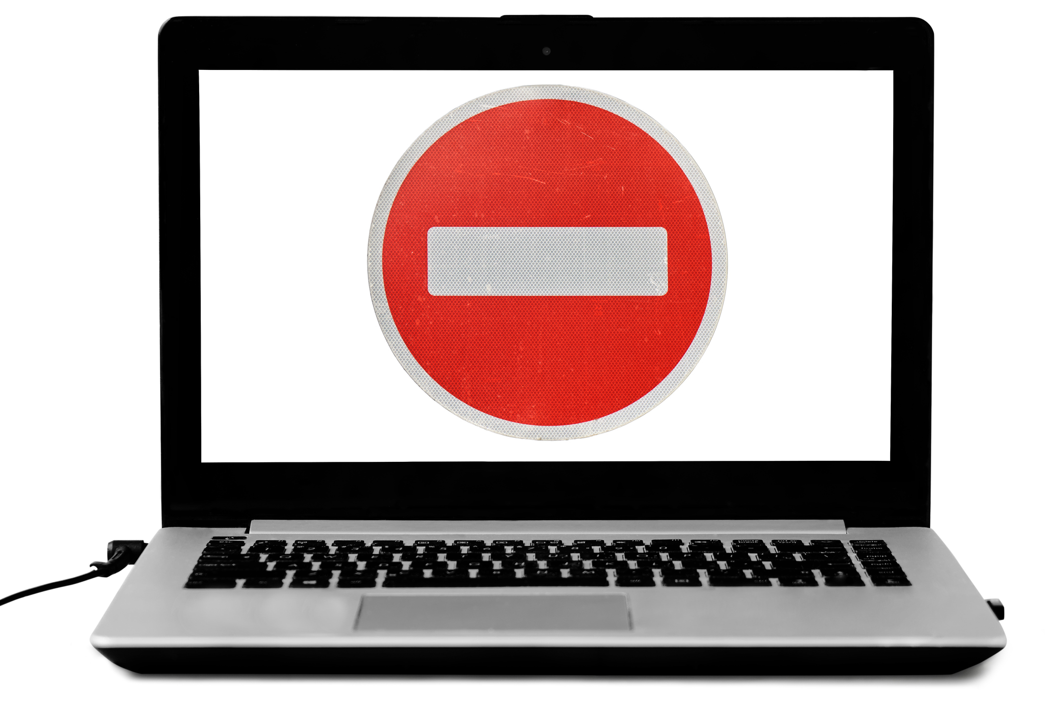 Laptop with a do not enter sign on the screen isolated on white.