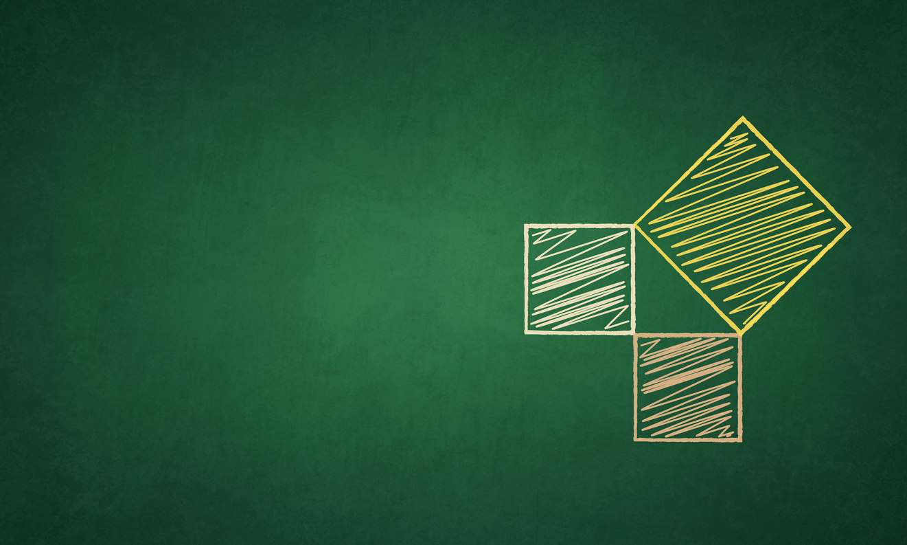 A figure representing pythagorean theorem,  a right angled triangle formed with the joined vertices of three squares over a green colored black board